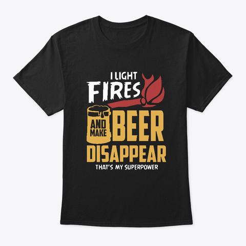 Camping Campfire Beer  Black T-Shirt Front
