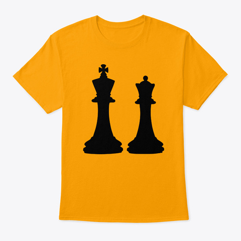 Chess King Queen Gold T-Shirt Front