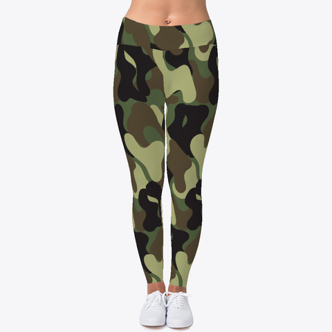 Camouflage Pattern Leggings Black T-Shirt Front