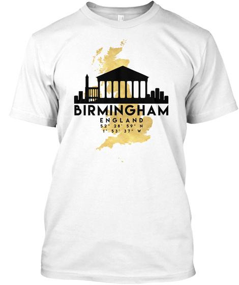 Birmingham England Skyline Map Art T Shirt White T-Shirt Front