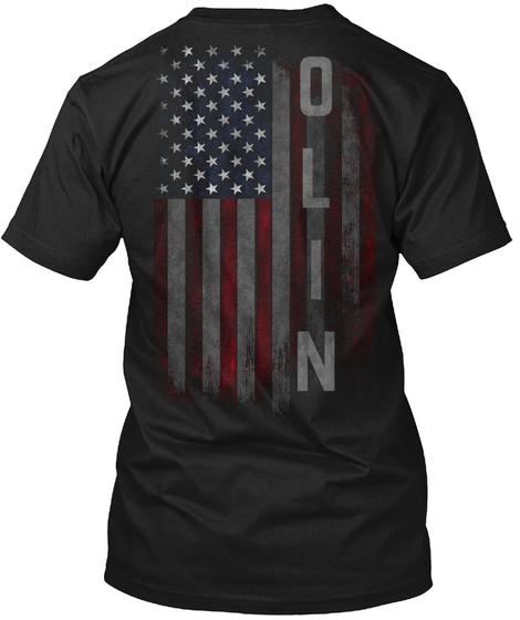 Olin Family American Flag Black T-Shirt Back