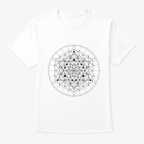 Sacred Geometry Yellow Tesseract Black White T-Shirt Front