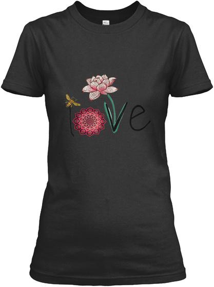 Lotus Mandala Circle | Spiritual Yoga  Black T-Shirt Front
