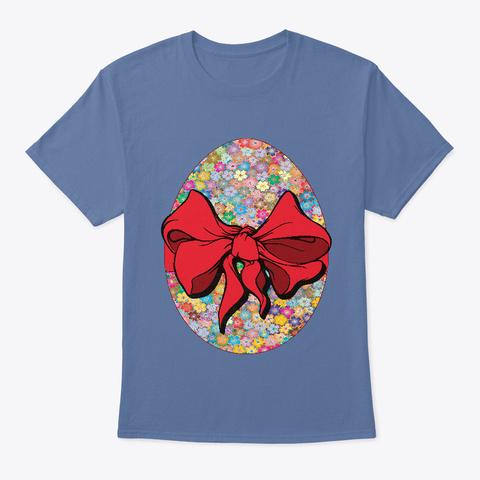 Colorful Easter Flowers Denim Blue T-Shirt Front