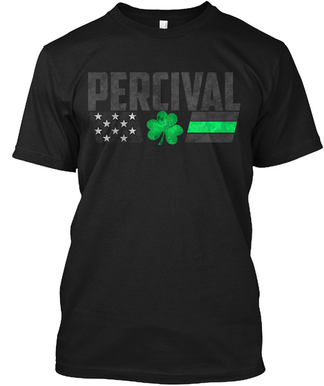 Percival Family: Lucky Clover Flag Black T-Shirt Front