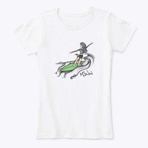 Surfer Girl On Green Surfboard White T-Shirt Front
