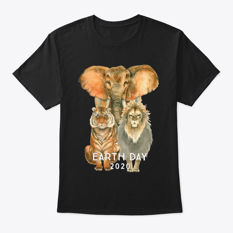 Earth Day 2020 Wildlife T Shirt Black T-Shirt Front