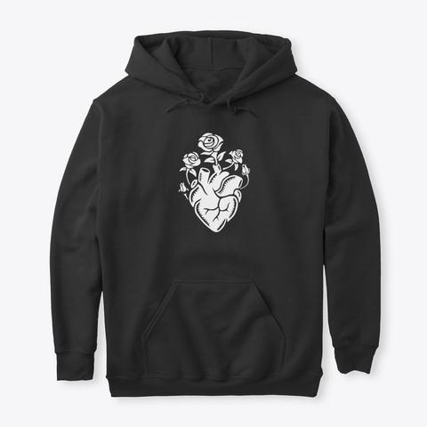 Blooming Heart Hoodie Black T-Shirt Front