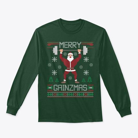 Merry Gainzmas T Shirt Ugly Gym Santa Forest Green T-Shirt Front
