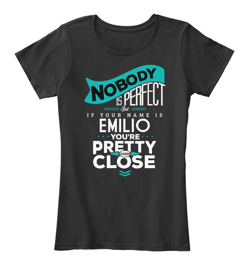 Emilio Nobody Is Perfect Black T-Shirt Front