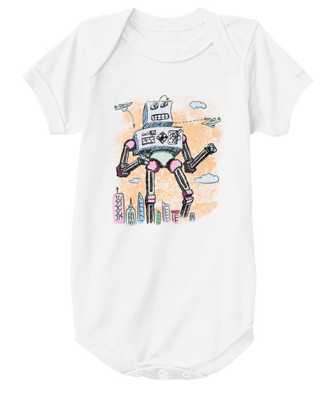 Mr. Clampy Hands   Baby White T-Shirt Front