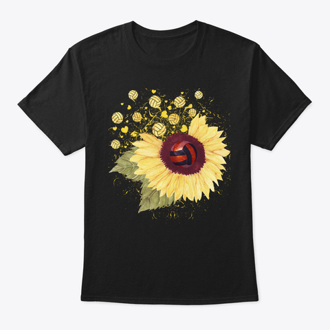 Sunflower Volleyball Black T-Shirt Front