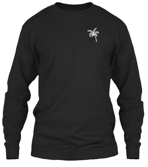 Palm Tree Long Sleeve Black T-Shirt Front
