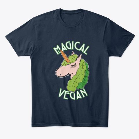 Magical Vegan Gift New Navy T-Shirt Front