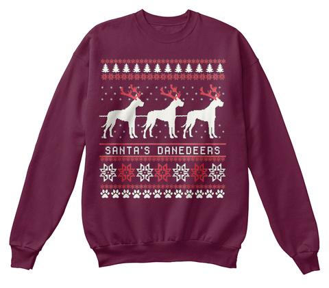 Santa's Danedeers Maroon  T-Shirt Front