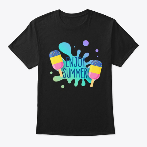 Enjoy This Summer Holidays Black T-Shirt Front
