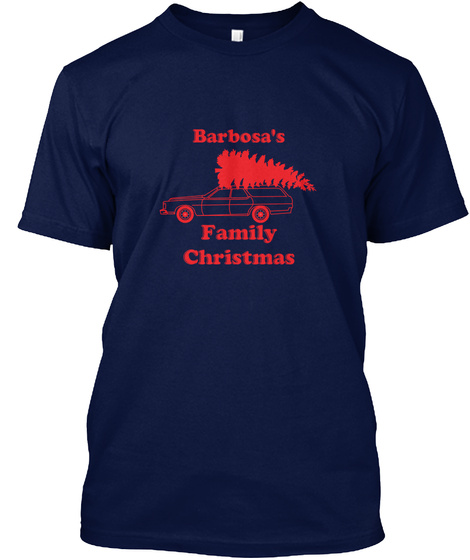 Barbosa The Barbosa Family Christmas Navy T-Shirt Front