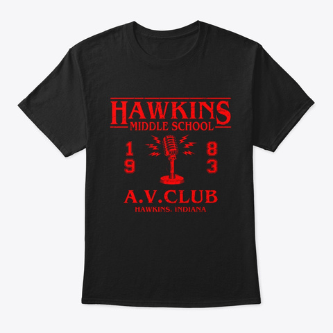 Hawkings Middle School 1983 A.V.Club Tee Black T-Shirt Front