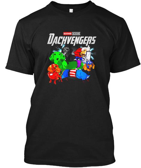 Funny Dachshund Dog Lover Gift Dachvenge Black T-Shirt Front