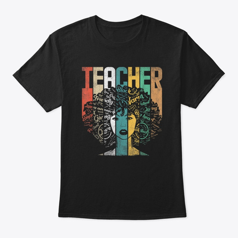 Retro Teacher Queen Black History Month Black T-Shirt Front