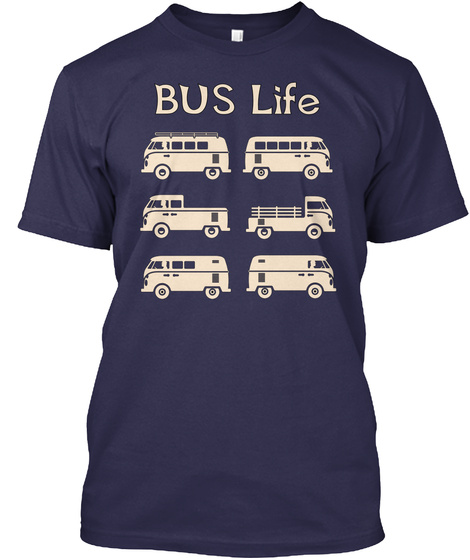 Bus Life Navy T-Shirt Front