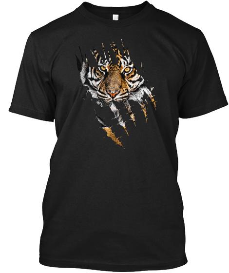 Lion Tiger 3 D Scratch Black T-Shirt Front