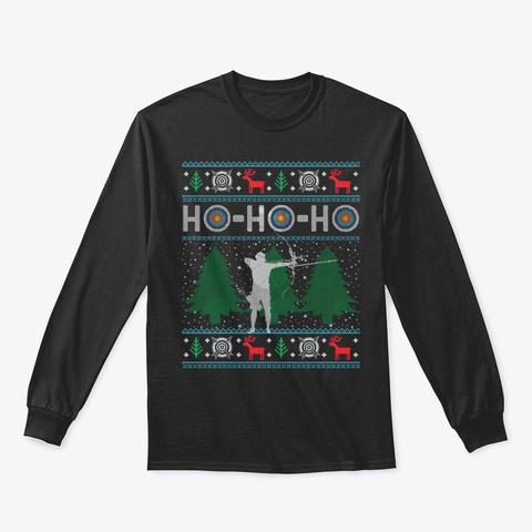 Christmas Archery Bow Hunting Bow Hunter Black T-Shirt Front