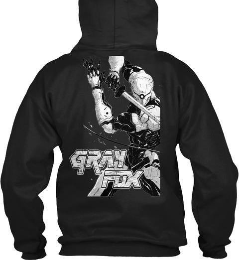 Fox Hound Gray Fox Black T-Shirt Back
