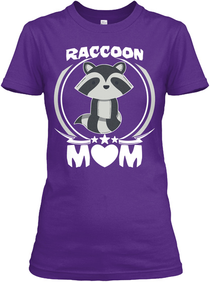 Raccoon Mom Shirt Cute Mothers Day Gifts Purple T-Shirt Front