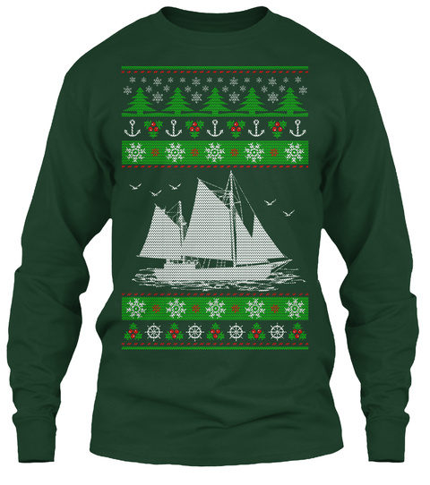Sailing Ugly Christmas   Limited Edition Forest Green Lange Mouwen T-Shirt Front