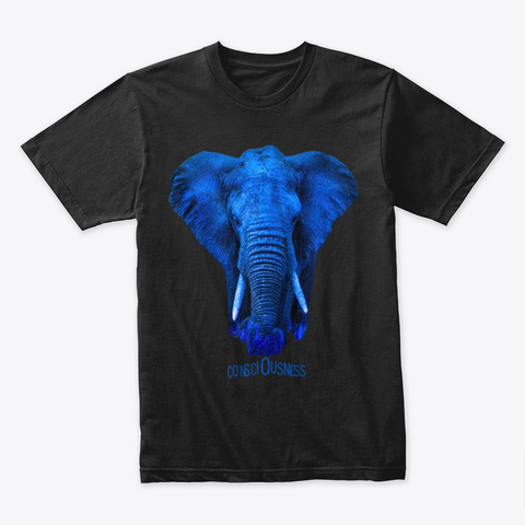 The Blue Elephant Of Consciousness Black T-Shirt Front