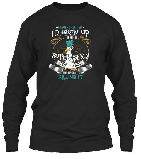 Super Sexy Penguin Lady Black T-Shirt Front