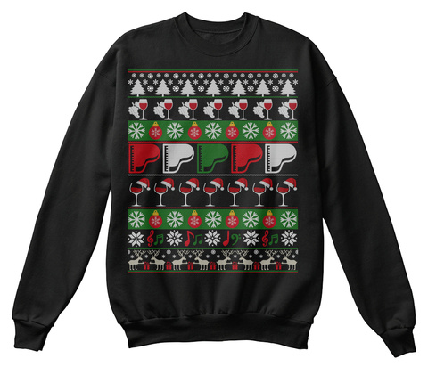 Piano Wine Ugly Christmas Sweater Gifts Jet Black T-Shirt Front