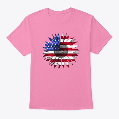 4th Of July American Flag Sunflower  Pink T-Shirt Front