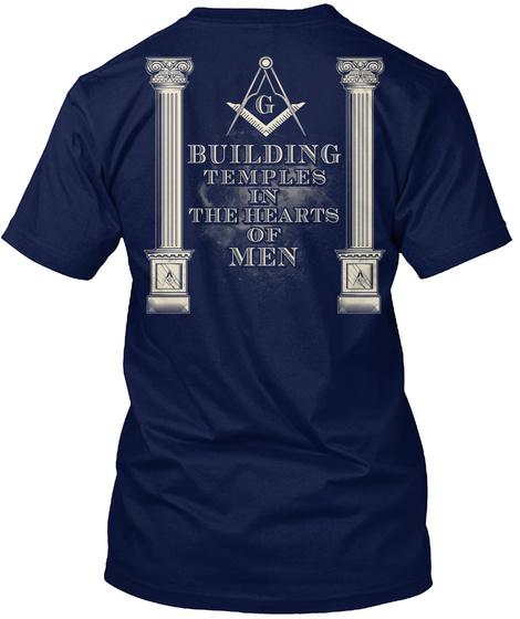 G Building Temples In The Heart Of Men Navy T-Shirt Back
