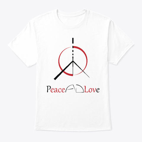 Peace & Love   Black White T-Shirt Front
