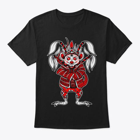 Rat Lunar New Year Chinese Opera Zodiac Black T-Shirt Front