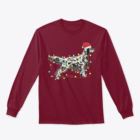Xmas Lights English Setter Dog Lover Cardinal Red T-Shirt Front