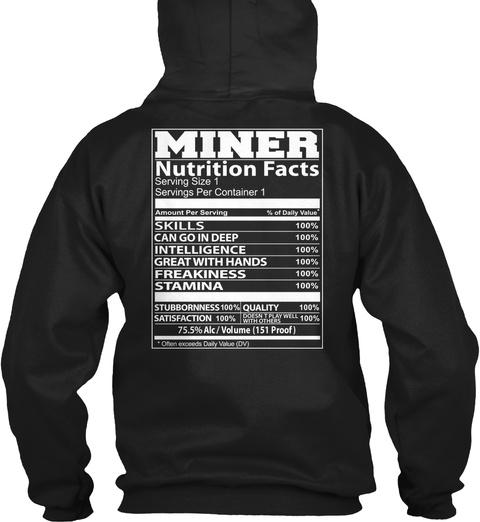 Miner Nutrition Facts Black T-Shirt Back