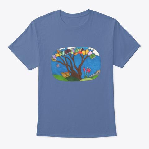 Free Knowledge Denim Blue T-Shirt Front