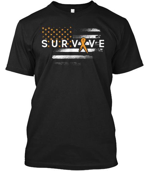 Childhood Cancer Survive Awareness Flag Black T-Shirt Front