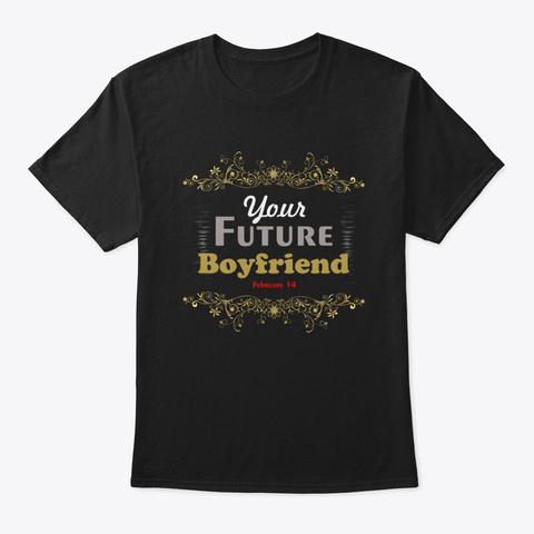 Valentine's Day Romantic Heart Love Funn Black T-Shirt Front