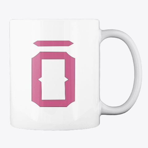 White mug with magentish O logo