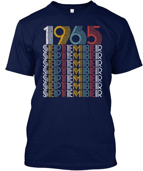 September 1965 Birthday Vintage Style Navy T-Shirt Front