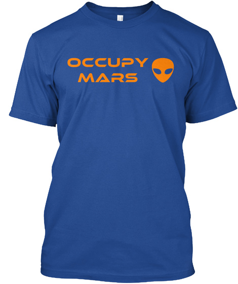 Occupy Mars Deep Royal T-Shirt Front