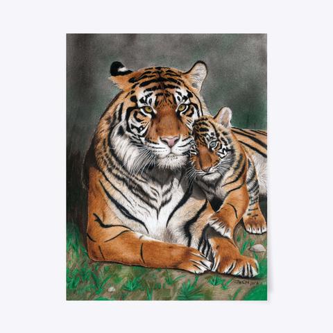 Tigress With A Tiger Cub Standard T-Shirt Front