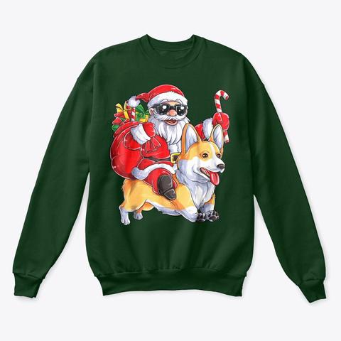 Corgi Christmas Shirt  Deep Forest  T-Shirt Front
