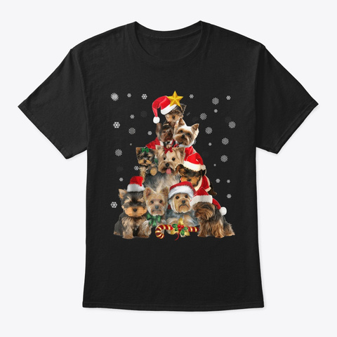 Yorkie Christmas Tree T Shirt Xmas Gift Black T-Shirt Front