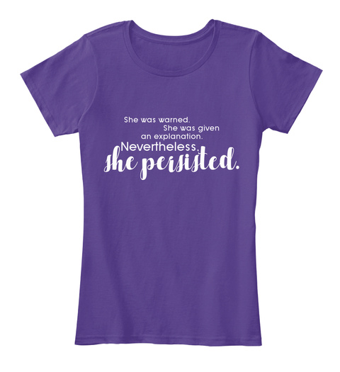 Nevertheless, She Persisted. Purple Women's T-Shirt Front