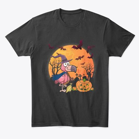 Flamingo Witch Moon Pumpkin Halloween Black T-Shirt Front